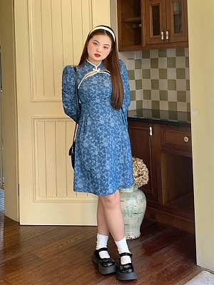 Plus Size Floating Flower Banquet Stand Collar Long Puff Sleeves Qi Dress