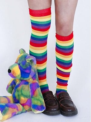 Rainbow Overknee Stockings by Catfish Firm