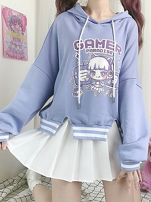 Cute Gamer Paradise Cartoon Girl Print Slit Trim Sweater by Catwish