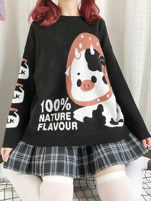 Strawberry Milk Black Sweater by Catwish