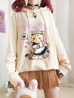 Kitten Maid Cute Hoodie by Catwish