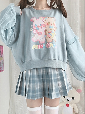 Bunny and Bear Mini Band Print Cute Top by Catwish