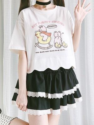 Duck Trojan Horse Round Neckline Short Sleeves Print T-shirt by Catwish