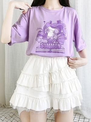 Summoning Story Round Neckline Short Sleeves Hollow Mesh Print T-shirt by Catwish