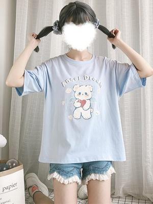 Little Angel Bear Round Neckline Short Sleeves Print T-shirt by Catwish