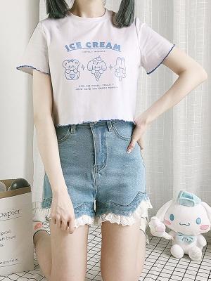 Ice Cream Alliance Round Neckline Short Sleeves Print Short T-shirt by Catwish