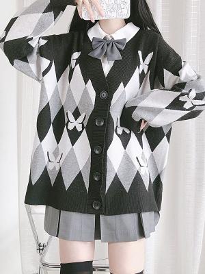 Butterfly Shadow Impression JK V-neck Long Sleeves Cardigan