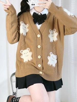 Vintage Teddy Bear JK V-neck Long Sleeves Cardigan