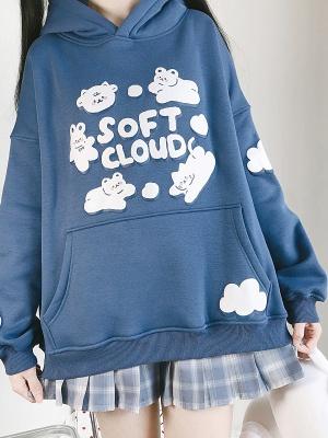 Soft Cloud Long Sleeves Plus Velvet Hoodie