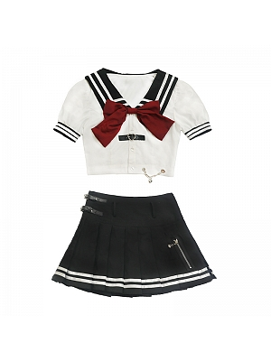 JK Navy Collar Short Puff Sleeves Bowknot Two Pieces Sets Cropped Top and Pleated Skirt  by DIET GRRRL