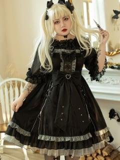 Plus Size Heartbeat Warning Black Lolita Dress JSK by Hard Candy