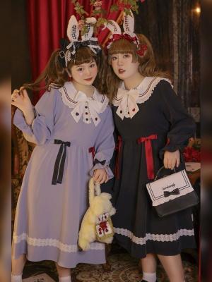 Plus Size Alice Poker Bunny Long Sleeves Lolita Dress OP