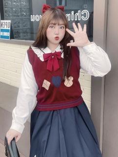 Plus Size Retro Sweetie JK Uniform V-neckline Knitted Vest