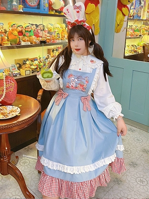 Plus Size Sweet Bunny Long Sleeves Peter Pan Collar Shirt / Square Neckline Overall Dress