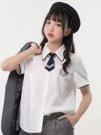 Sanrio Authorized Kuromi White JK Uniform Short Sleeves Shirt by KYOUKO
