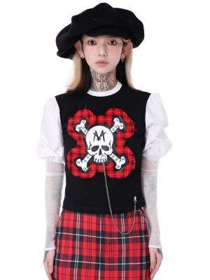 Punk Round Neckline Puff Sleeves Skull Chain Decorative Top