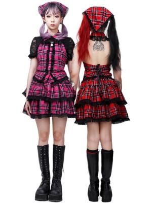 Corduroy Plaid Turndown Collar Vest / Tiered Skirt / KC Full Set