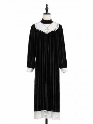 Choir Girl Gothic Stand Collar Long Sleeves Velvet Cross Pendant Decortive Long Dress