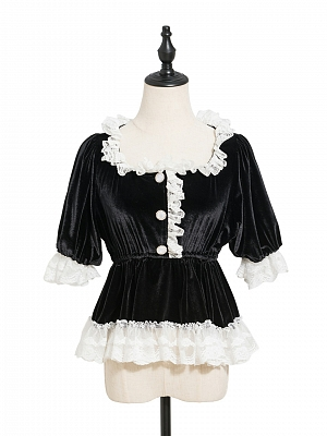 Gothic Lace Trimmed Square Neckline Short Sleeves Velvet Top / Bloomers