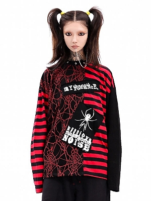 Punk Cobweb Stripe Patches Round Neckline Long Sleeves Loose Top