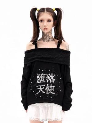 Punk Off-the-shoulder Neckline Long Sleeves Cobweb Top