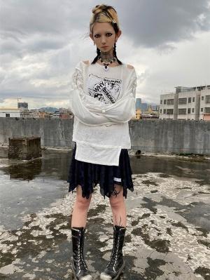 Punk Black / White Round Neckline Long Sleeves Muslin Bondage Top
