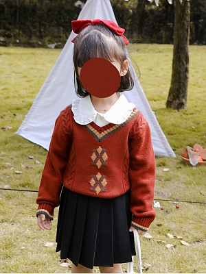 V-neck Color Block Sweater for kids by Mini Mori Tribe