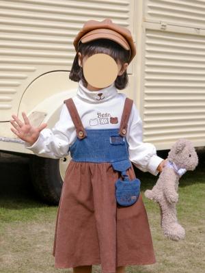 Retro Stitching Strap Dress for kids by Mini Mori Tribe