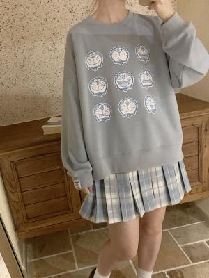Doraemon Authorized  Blue Loose Sweatshirt by No Worries