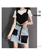 Blue and Black Splicing Short Sleeves Fake Two-pieces Cropped Top / Skirt Set by PINK SAVIOR