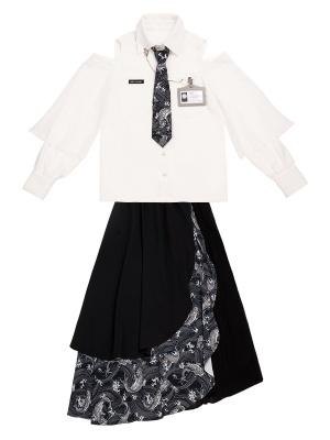 Koi Turndown Collar Open Shoulder Long Sleeves Shirt / Irregular Skirt Set by PINK SAVIOR