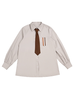 Maple Shore Melbourne Turndown Collar Long Sleeves Shirt with Tie