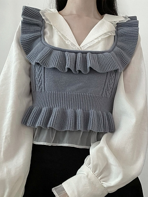 Song of Whale Fall Stand Collar Long Sleeves Shirt / Short Knitted Vest