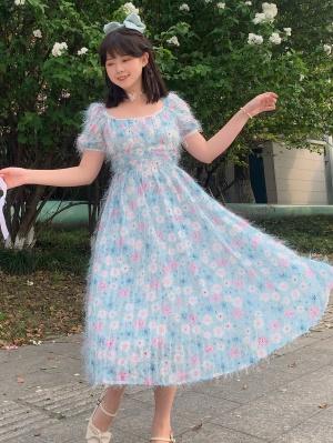 Floral Short Puff Sleeves Lolita Dress OP by SanKouSan