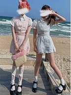 Two-Flavored-Yogurt Cropped Plaid Vest / Skirt Set by SanKouSan