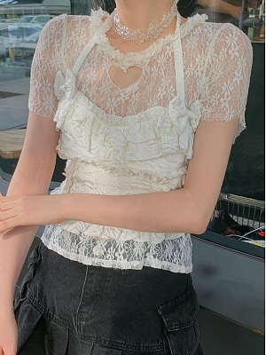 Blossoming Love Heart Shaped Cutout Lace T-shirt by SanKouSan