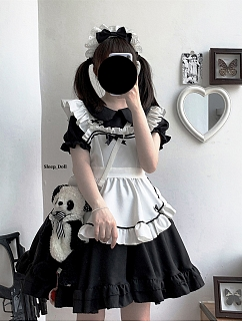 Be My Cat Black / White Peter Pan Collar Short Puff Sleeves Lolita Dress OP by Sleepy Doll