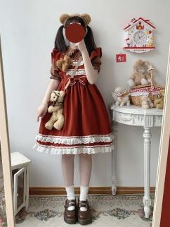 Humanoid Doll Vintage Square Neckline Bowknot Decorative Lolita Dress JSK by Sleepy Doll