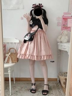 Candy Bo Bo Vintage Satin Jacquard Bowknot Decorative Lolita Dress JSK by Sleepy Doll