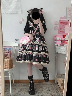 Showa Sweetheart Black Square Neckline Lace-up Print Lolita Dress JSK by Sleepy Doll