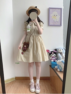 Little Mary Vintage Peter Pan Collar Short Sleeves Dress by Sleepy Doll
