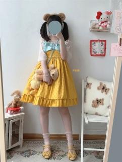 Candy Bo Bo Vintage Turmeric Satin Jacquard Bowknot Decorative Lolita Dress JSK by Sleepy Doll