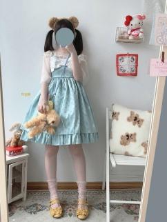 Candy Bo Bo Vintage Mint Satin Jacquard Bowknot Decorative Lolita Dress JSK by Sleepy Doll