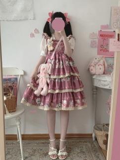Showa Sweetheart Square Neckline Lace-up Cat Print Lolita Dress JSK by Sleepy Doll