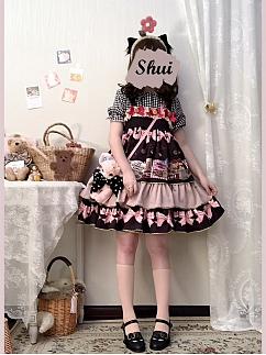 Cookie Collector Square Neckline Bowknot Print Lolita Dress JSK by Sleepy Doll
