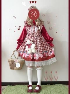 Sweet Berry Li Vintage Bunny Strawberry Plaid Print Lolita Dress JSK by Sleepy Doll