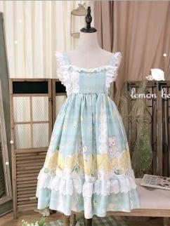 Lemon Bear Vintage Square Neckline Print Lolita Dress JSK by Sleepy Doll