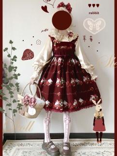 Strawberry Rabbit Square Neckline Print Lolita Dress JSK by Sleepy Doll