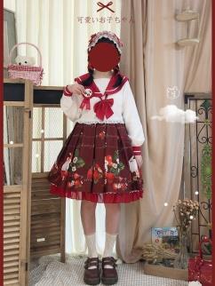 Strawberry Rabbit Elastic Waist Print Lolita SK by Sleepy Doll