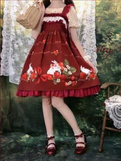 Strawberry Rabbit Square Neckline Lace Trim Print Lolita Dress JSK by Sleepy Doll